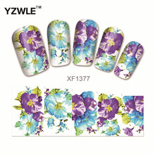 YZWLE Water Transfer Nail Decals Purple Flower Designs Watermark Nail Art Stickers Tattoos Decorations Tools For Polish(China)