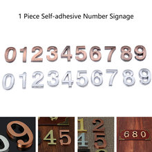 1 Piece 5cm Plated Hotel Room Numbers Signage Doorplate Board Restaurant Self-adhesive Digit Signs(China)