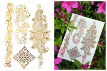Gold Temporary Tattoos Changing Color in the sun Jewelry Flash Body Art flower Sexy  Flash Tattoos-in Temporary Tattoo girl boy