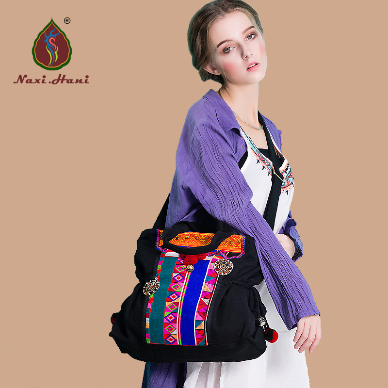 Newest Naxi.Hani brand pattern black canvas trapeze bags vintage fashion embroidery women shoulder messenger bags<br>