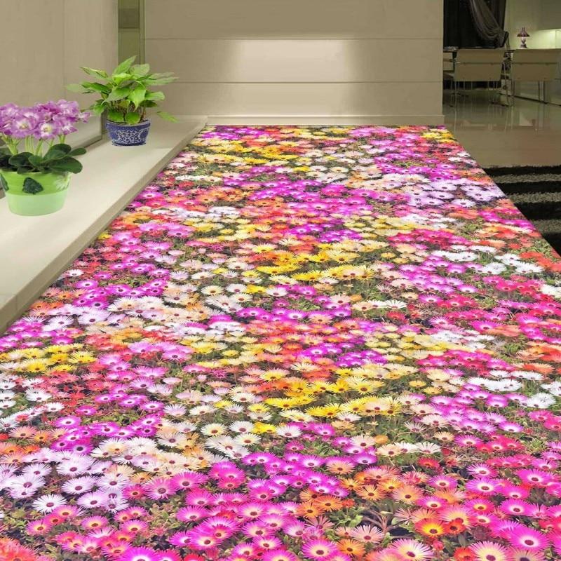 Free Shipping ocean flower plant 3D flooring painting wallpaper bathroom hotel restaurant floor mural<br>