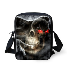 Brand Men's Messenger Bags Cool Fashion 3D Skull Printed Crossbody Bag for Children Kids Boys Travel Casual SpainBag Handbag