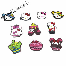 Free DHL 1000PCS Cartoon Hello Kitty Lovely Soft Decoration Accessories Flat PVC DIY Gadgets Fit Bracelets,Shoe Charms