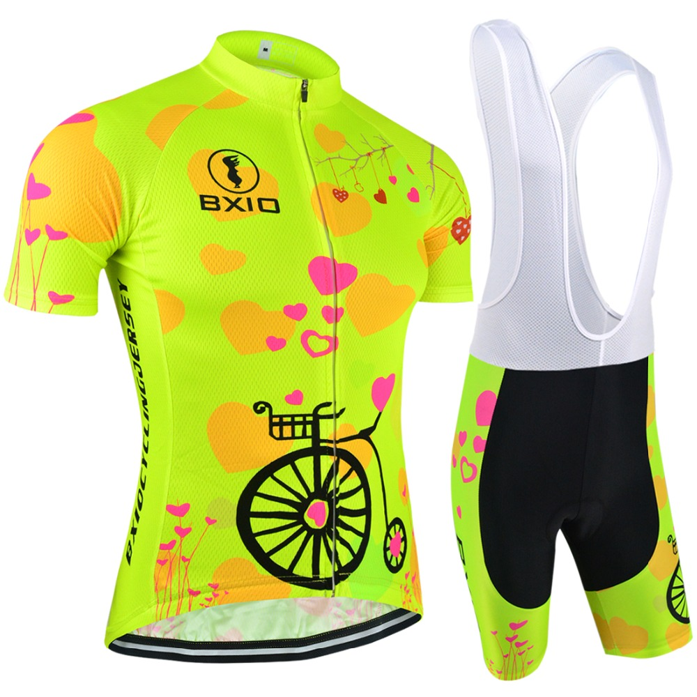 2017 New Fluorescence Women Cycling Sets Bxio Brand Bicycle Short Sleeve Road Bike Clothing Roupas De Ciclismo Equipacion 125<br><br>Aliexpress