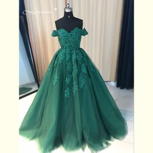 Leeymon Luxury Off Shoulder Lace Ball Gown Evening dresses Dubai Prom Dress 2017 Evening Party Dress for Wedding LY7179