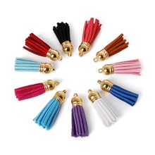 Hot Sale 10Pcs 35x38mm Mixed Suede Leather Jewelry Tassel For Key Chains/ Cellphone Charms Top gold Plated End Caps Cord Tip