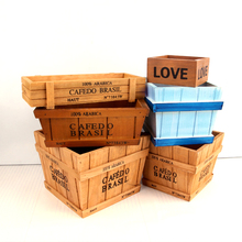 Wooden decorative vintage storage boxes bins bonsai flowerpots desk organizer cabinet holder cajas de madera organizadores