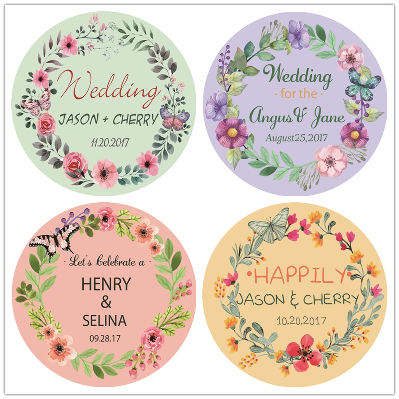 Personalized Wedding Stickers Labels,Paper Sticker Labels Round,Custom Engagement Anniversary Labels,Party Favors,Wedding Decor