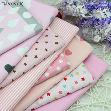 Twill 8 pcs Pink cartoon Cotton Fabric for DIY Patchwork Sewing Kids Bedding Bags Dot Tilda Doll  Cloth Textiles Fabric 40*50cm
