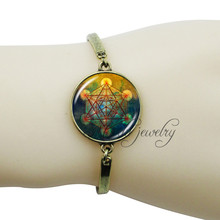 Antique bronze plated hexagram art bangle metatron's cube jewelry wristband bracelet glass cabochon spiritual bracelet femme(China)