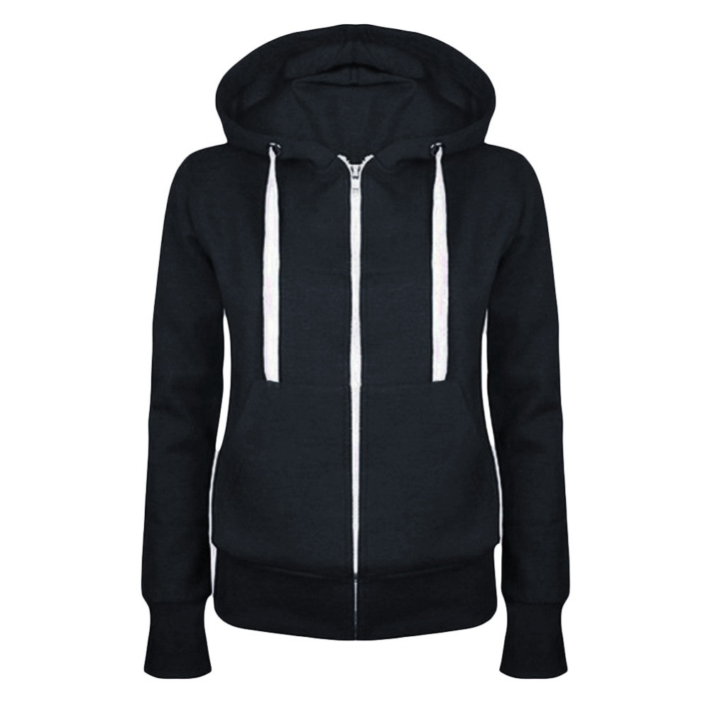 Hot New Winter Autumn Women hoodie Coats Jackets casual hooded top coat Sportwear zipper jacket solid color 17 hoodies Outwear 4