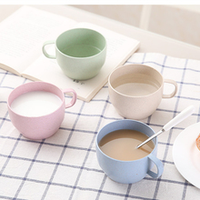 2pcs Wheat Straw Milk Cup European Afternoon Tea Coffee Mug Solid Color Couple Mugs Leisure Tea Cup Home Office Supplies 5ZDZ319(China)