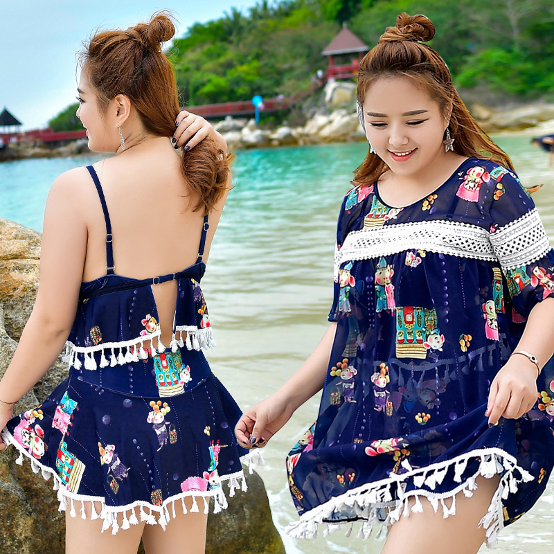 2017 New Summer Sexy Women Plus Size Bikini Swimwear with Loose Beach Smock Character Cute Swimsuit 3 Pieces Solid Bathing suit <br>