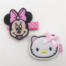 10pcs/lot Pink Dot Grosgrain Hair Clips Cartoon Mouse Ribbon Kitty Hairpin Festival Holiday Princess Girl Animal Grips Barrettes(China)