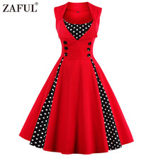 ZAFUL Vintage Retro Women Dress Sleeveless Polka Dot 2017 Summer Party Evening Vestido Elegant Ladies Red A Line Plus Size 4XL(China)