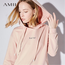 Buy Amii Minimalist Casual Women Dress 2018 Hooded Long Sleeve Knee High Patterned Straight Dresses for $28.59 in AliExpress store
