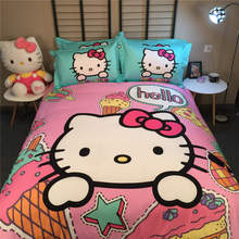 Children's Bedding Sets Coverlets Bedspreads Girl's Baby Bed Cotton Woven 500TC Twin Queen King Size Hello Kitty Pink Turquoise