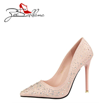 Zoe Saldana 2017 PU Leather Crystal Sexy Gold Silver High Heels  Luxury Rhinestone Wedding Party Shoes Women Pumps
