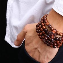 108 *0.8cm   Red  Willow Tibetan Buddhist  Sandalwood Prayer Beads  Mala Buddha Bracelet Rosary Wooden Bangle Jewelry