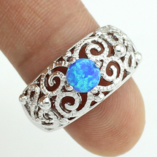 HAIMIS Free Gift Box Free Shipping Unusual Blue Fire Opal Hollow Fashion Jewelry For Women Opal Ring Size 6 7 8 D44B