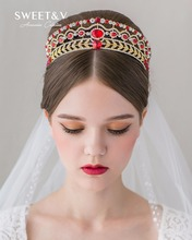 CLEARANCE SALE Jeweled Queen Crown Rhinestone Princess Tiara - Gold / Silver Bridal Hair Accessory for Wedding Prom Party(China)