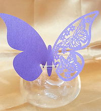 KAZIPA 50PCS Butterfly Wine Glass Place Card Table Mark Pear Name Place Paper Cards For Party Decoration Purple(China)