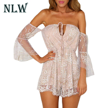 Buy NLW Sexy Squins Shoulder Women Mesh Playsuits Halter V Neck Ladies Beach Short Jumpsuits 2017 Party Fitness Overalls Rompers