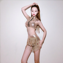 female singer dance stage wear nightclub bar jazz costumes sexy slim clothing show for prom DJ Tassels party performance(China)