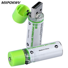 MXPOKWV 2Pcs AA Battery Nimh AA 1.2V 1450MAH Rechargeable Battery NIMH USB AA 1450 With Colorful Card