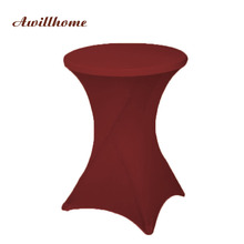 Awillhome 10pc 23 Solid Color 60/80CM Spandex Cocktail Table Cloths Cocktail Round Table Cover Wedding Event Decorations Party(China)