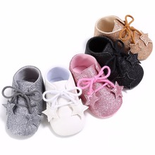Puseky Newborn Baby Girls Fashion Sparkle Glitter Princess Walking Shoes Infant Toddlers Antiskid Formal Shoes Lace-Up With Star(China)