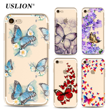 USLION Luxury Transparent Clear Phone Cases For iPhone 7 Butterfly Flower Case Soft TPU Back Cover For iPhone7 6 6S Plus 5 5S SE