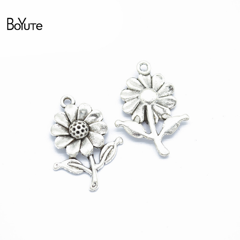 BoYuTe (50 PiecesLot) Metal Alloy 2818MM Sunflower Pendant Charms for Jewelry Making Diy Hand Made Accessories Wholesale (2)