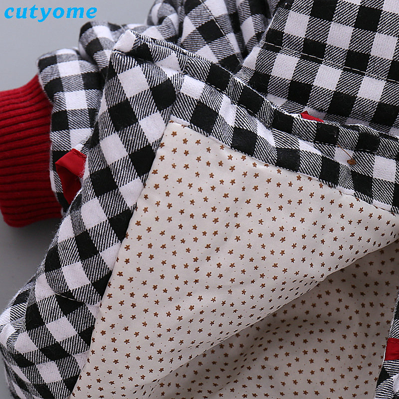 Cutyome Newborn Baby Girls Outwear Coats Hooded Plaid With Bow Cotton Winter Jackets Children Infant Padded Thick Jacket Clothes (5)