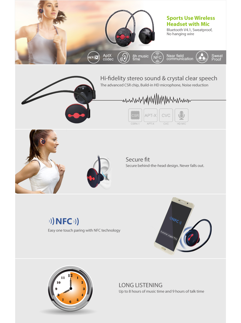 Avantree Bluetooth Headphones, Stereo Sweatproof Sports Earphones with Mic, Wireless V4.1 aptX, for Running Gym In ear foldable