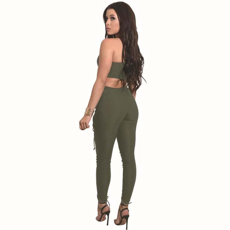 Sexy Fashion Two Piece Set Women Top And Pants 17 Summer Elasticity Women Slim Crop Tops+Slim Long Laced Pants Women's Suit 5
