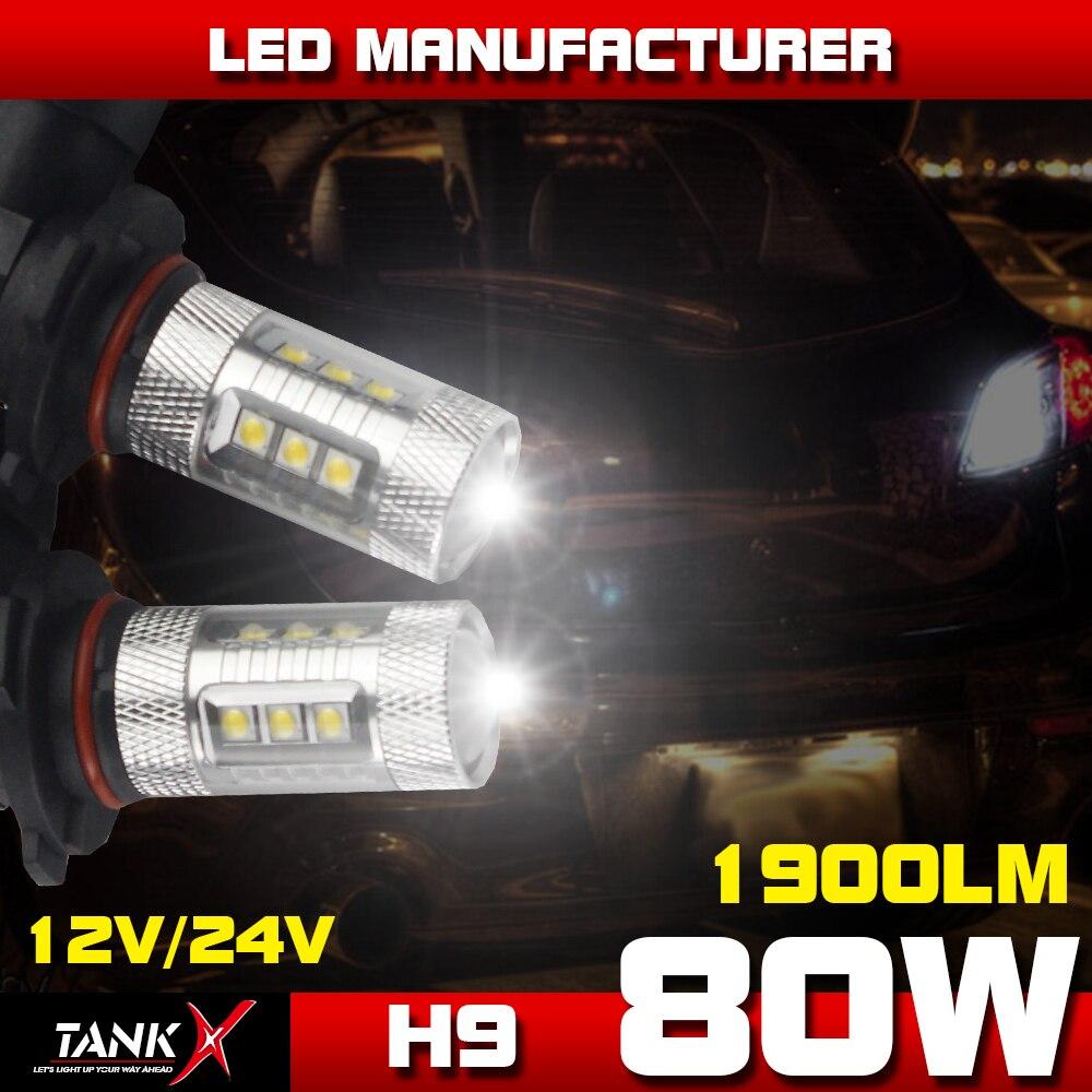 2x 80W 16-LEDs H9 Power Light 12V-24V Car Fog DRL Daytime Running Light White Light 360 Beam Angle<br><br>Aliexpress