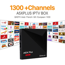 Smart A5XPLUS Android 7.1 TV HD Set Top Box TV Receivers with arabic iptv italia QHDTV IPTV subscription 1 year Europe French