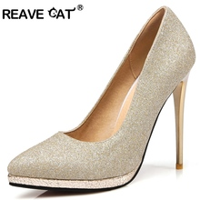 REAVE CAT Bling Glittering Stiletto High heel Pumps Platform Wedding Pumps for women Size 31 32 33 34 40 41 42 43 44 45 RL3014(China)