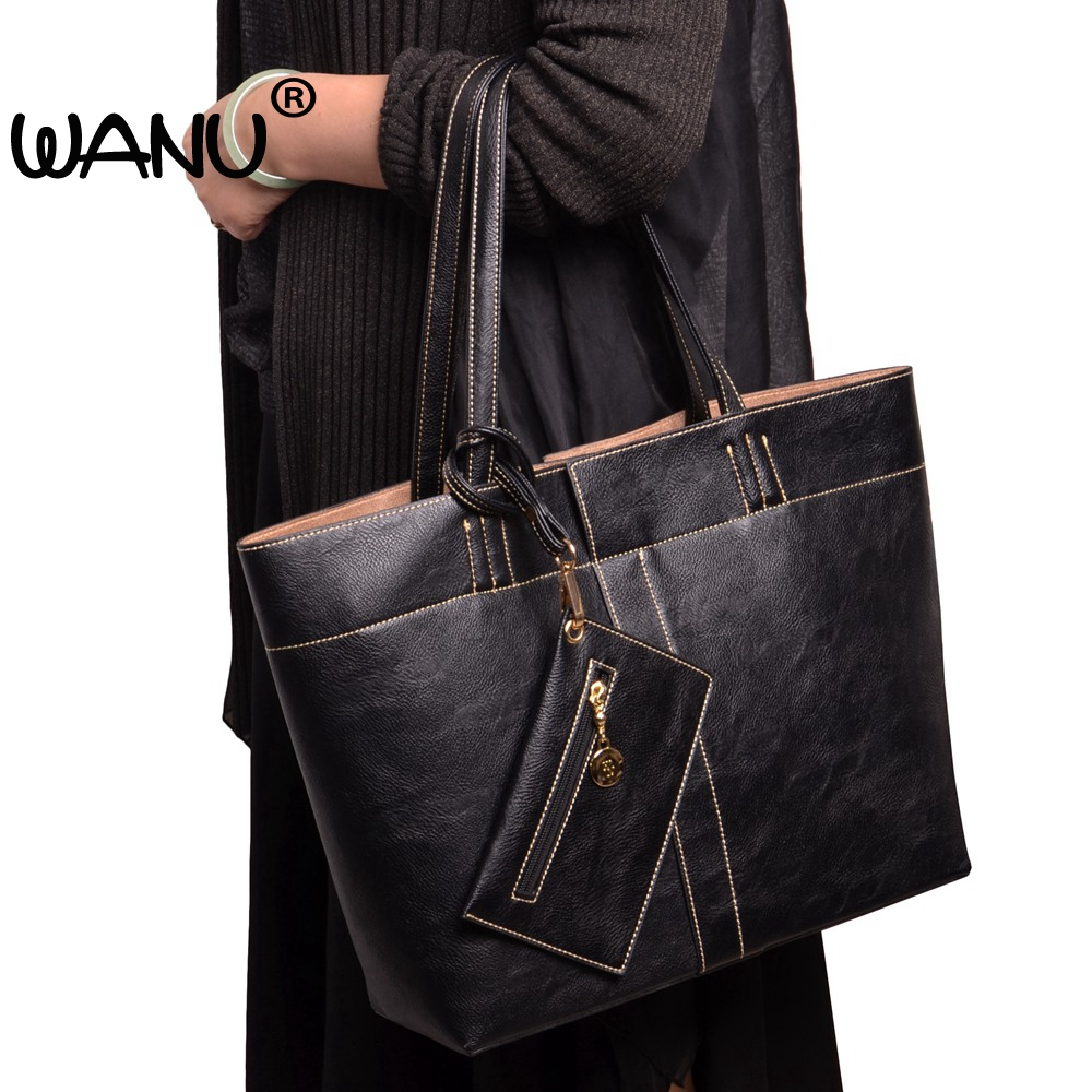 WANU Brand women shoulder bags design high quality soft leather fashion crossbody bag woman big totes Composite Bag----3 Bags<br>