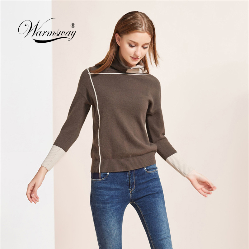 Casual Minimalist Women Sweater 2019 Fall Winter Contrast Color Patchwork Turtleneck Long Sleeve Female Soft Pullovers  C-150