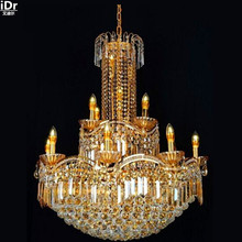 Yellow crystal lamp crystal lamp Modern Luxury S Kim led energy saving lamps traditional lighting gold Chandeliers Lmy-0260(China)