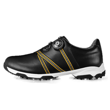 men automatic BOA-lace first layer leather waterproof breathable anti-skid patent design sport shoes good grip male golf shoes