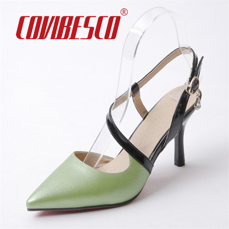 COVIBESCO Ankle Strap Women Sandals Plus Size 34-43 New Fashion Summer High Heel Pumps Platforms Woman Shoes Pointed Toe Pumps<br><br>Aliexpress