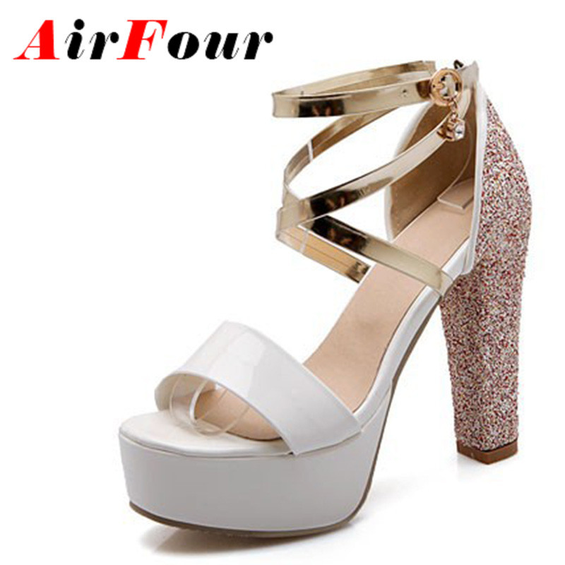 Airfour High Heels Gladiator Sandals Women Fashion Glitters Sandals Lady Sexy Dress Cross-tied Shoes Woman Platform Sandals<br><br>Aliexpress