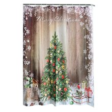 Coper Christmas Waterproof Personality Polyester Bathroom Shower Curtain Liner With Hooks New(China)