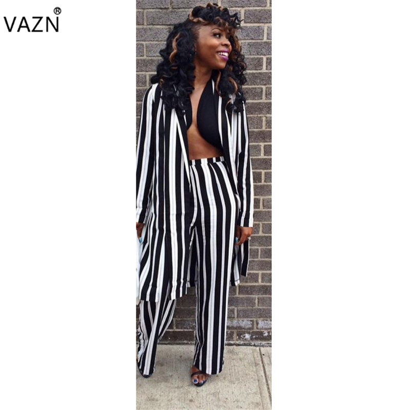VAZN Novelty Casual Design High Quality 2 Piece Women Set Striped Full Sleeve X-long Outwear Full Length Lady Overalls Set JH041