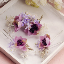 new fabric hair clip hairpins 3pcs sets bride hair acessories handmade headwear wedding hair accessories purple and white