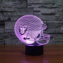 NFL Oakland Raiders 3D Night Light football helmet hat cap 7 Colors Change LED Table Lamp Xmas Gift Creative Night Lamp