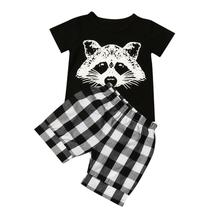 Summer Baby Boy Girls Clothing Set Toddler Baby Boy Fox Tshirt Tops Plaid Shorts Pants Outfits Clothes Casual Infant Cotton Suit